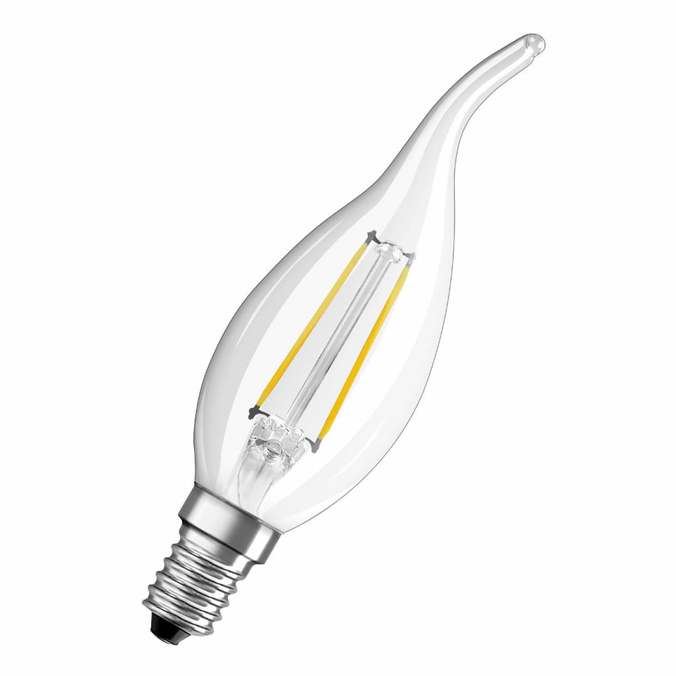 osram parathom filament ba23 2w 827 fl led candle lamp warm white not dimmable. Black Bedroom Furniture Sets. Home Design Ideas