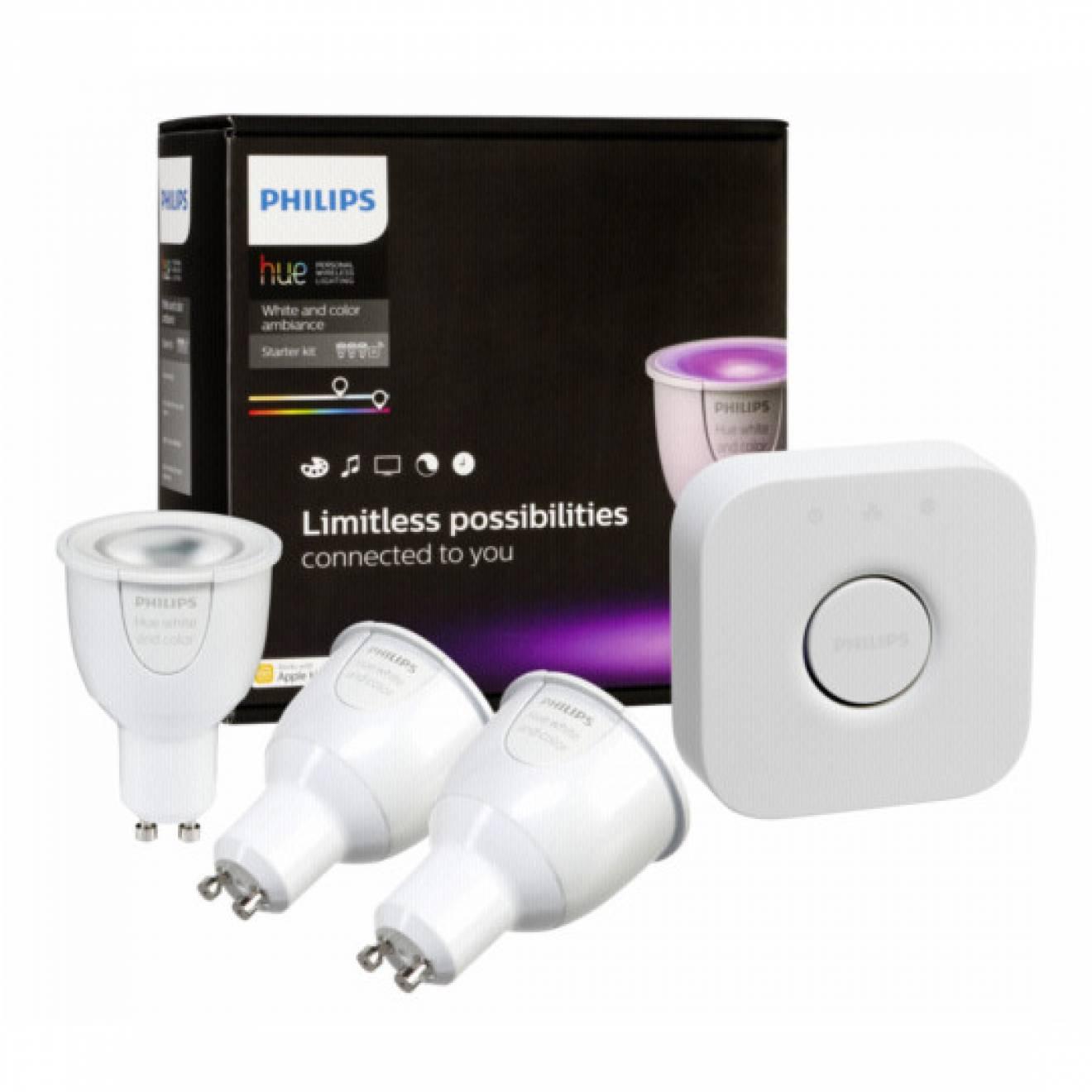 philips hue starter set 3x gu10 rgbw lampes led avec pont 2 0. Black Bedroom Furniture Sets. Home Design Ideas